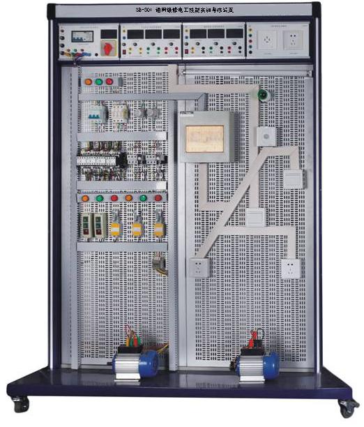 SB-301 通用维修电工技能实训考核装置 一、通用维修电工技能实训考核装置概述: 通用维修电工技能实训考核装置主要由铝合金实训台架和网孔板组成。学生通过实训线路进行元器件的布局安装,接线全部由学生自行完成,有利于培养学生的动手能力和操作技能。实训项目可自行确定,根据所选的项目选择相应的元器件,也可作为电工考证的考核理想设备。  二、通用维修电工技能实训考核装置技术参数: 工作电源:AC 380(110%)V; 环境温度:-10C ~ +40C; 相对湿度:<85%(25C); 装置容量:&l