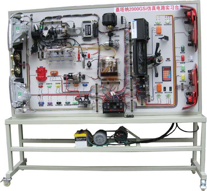 桑塔纳2000时代超人AJR全车电器实训台  功能: 1)适用于汽车专业学员实操技能的培训考核。 2)真实的模拟汽车零部件展示发动机点火系统、起动系统、充电系统、雨刮系统、灯光照明系统、电动门窗、仪表、音响的组成结构,可对点火系统、起动系统、充电系统、雨刮系统、灯光照明系统、电动门窗、仪表、音响进行结构和控制系统的认识实训。 3)接通工作电源,操纵各种开关完成点火系统、起动系统、充电系统、雨刮系统、灯光照明系统、电动门窗、仪表、音响工作,充分展示整车电器系统的工作过程。 4)示教板上安装有诊断座,使用电脑